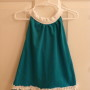 Turquoise and White with 1 ruffle (no shoulder tie)