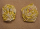 Rolled Fabric Rosettes with Ribbon